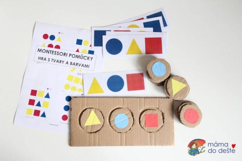 Montessori hra s tvary a barvami