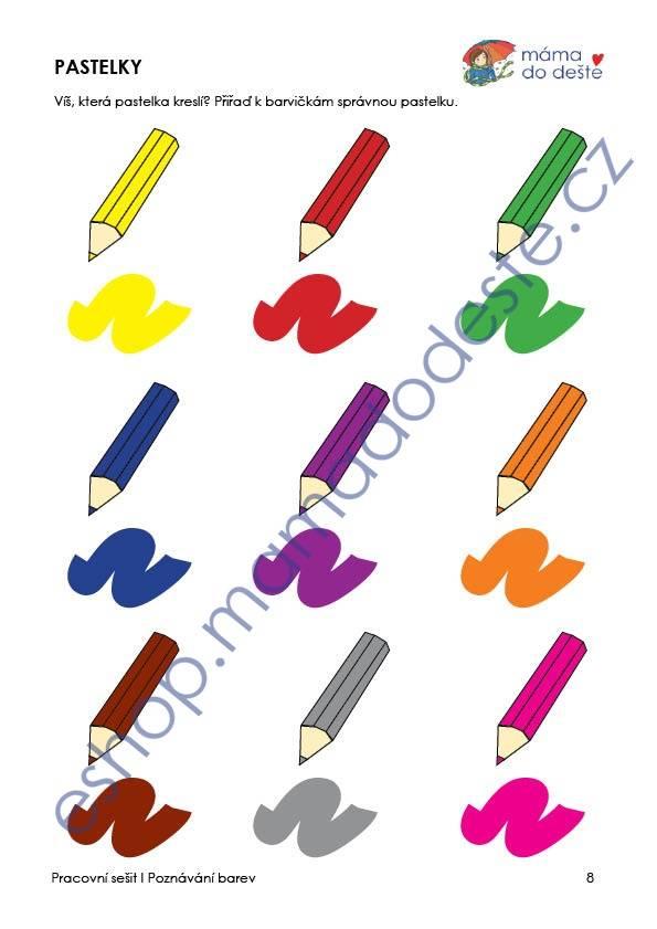 PDF pro děti k vytisknutí Pracovní sešit poznávání barev