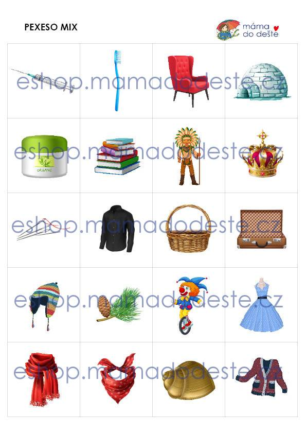 PDF pro děti k vytisknutí Pexeso_Mix