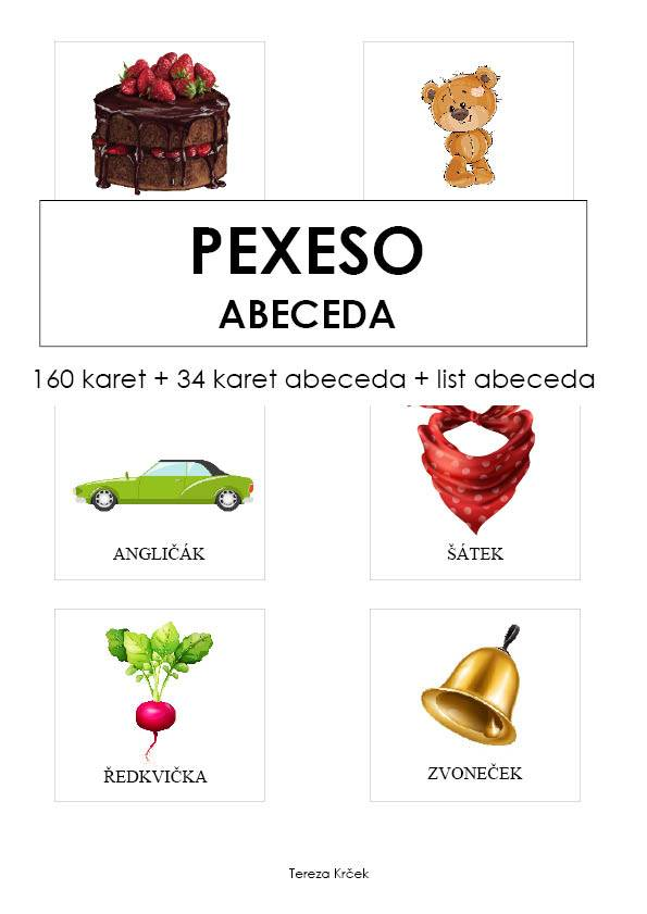 PDF pro děti k vytisknutí Pexeso abeceda karty