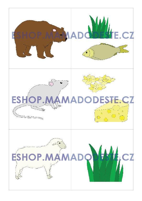 PDF pro děti k vytisknutí Puzzle: Co jí zvířátka