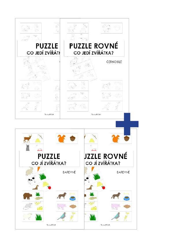 PDF pro děti k vytisknutí Puzzle Co jí zvířátka