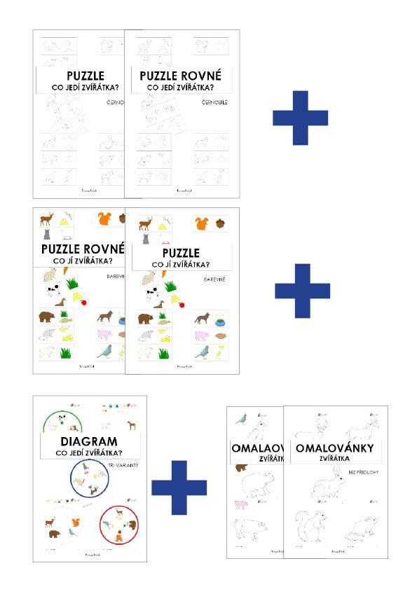 PDF pro děti k vytisknutí co jedi zviratka komplet