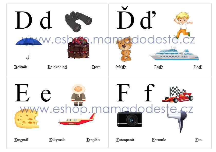 PDF pro děti k vytisknutí Abeceda pro nejmenší karty