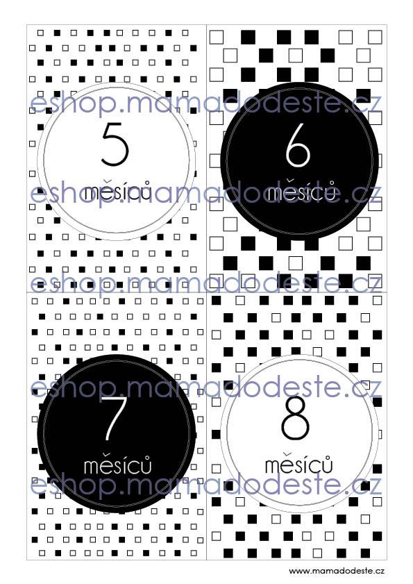 Milníkové karty PRO MIMINKA čtverce černobílé