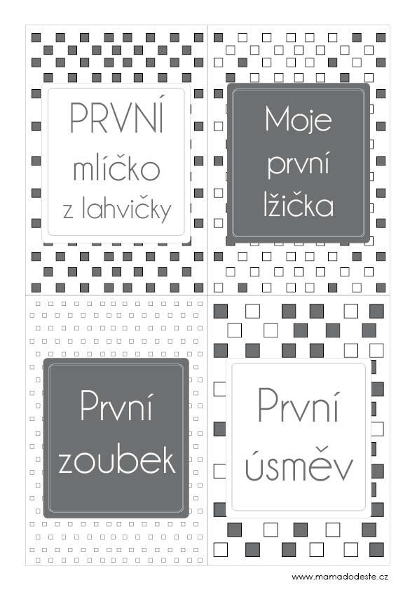 Milníkové karty PRO MIMINKA čtverce šedé
