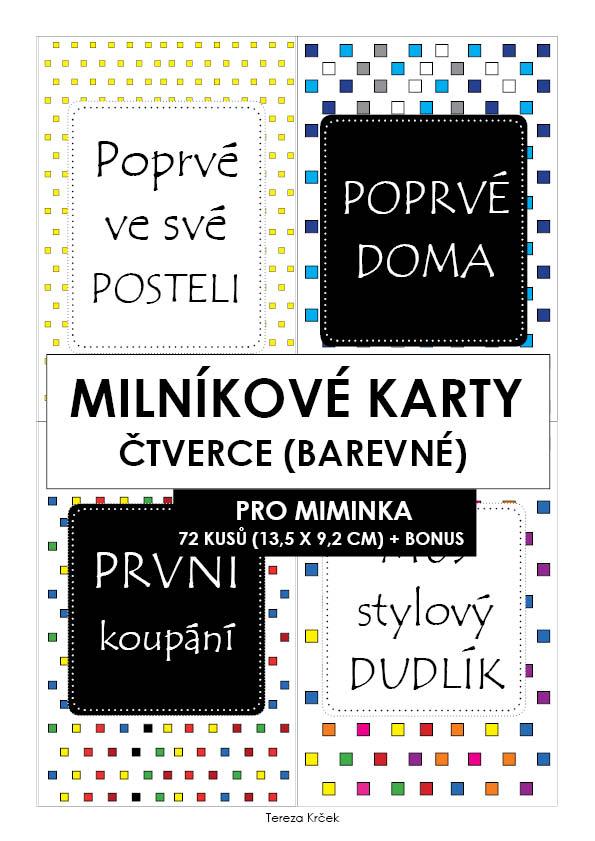 Milníkové karty PRO MIMINKA čtverce barevné