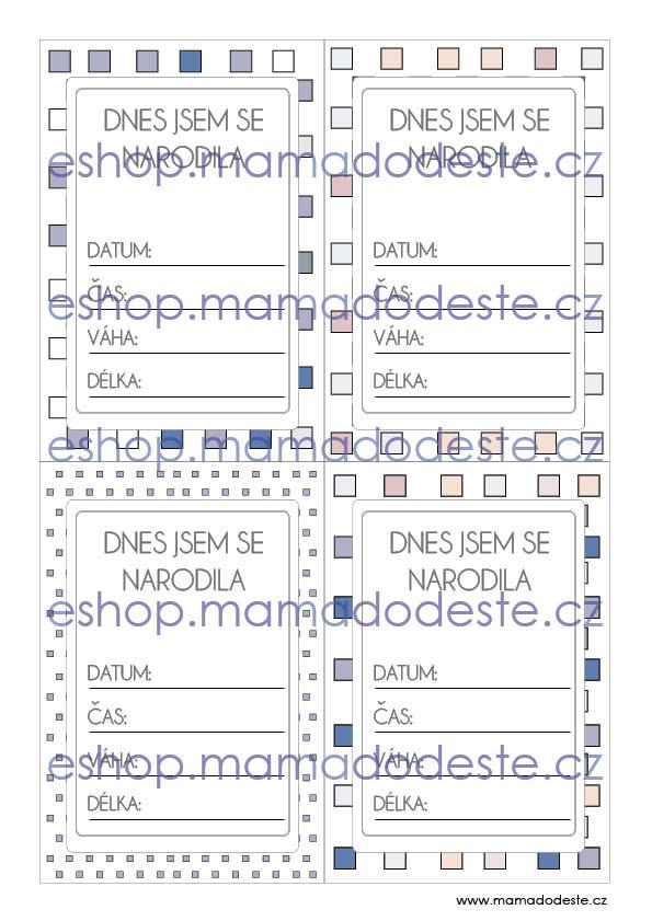 Milníkové karty PRO MIMINKA čtverce pastelové