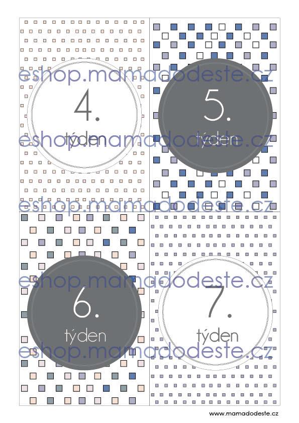 Milníkové karty TĚHOTENSKÉ čtverce pastelové