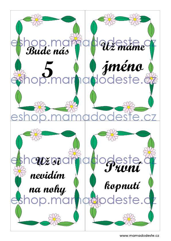 Milníkové kartičky těhotenské kvety