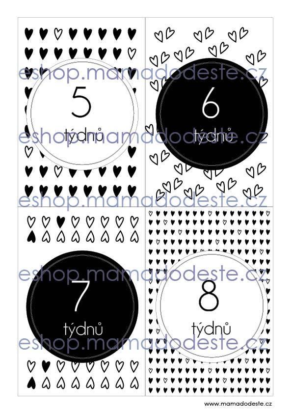 Milníkové karty PRO MIMINKA srdce černobílé