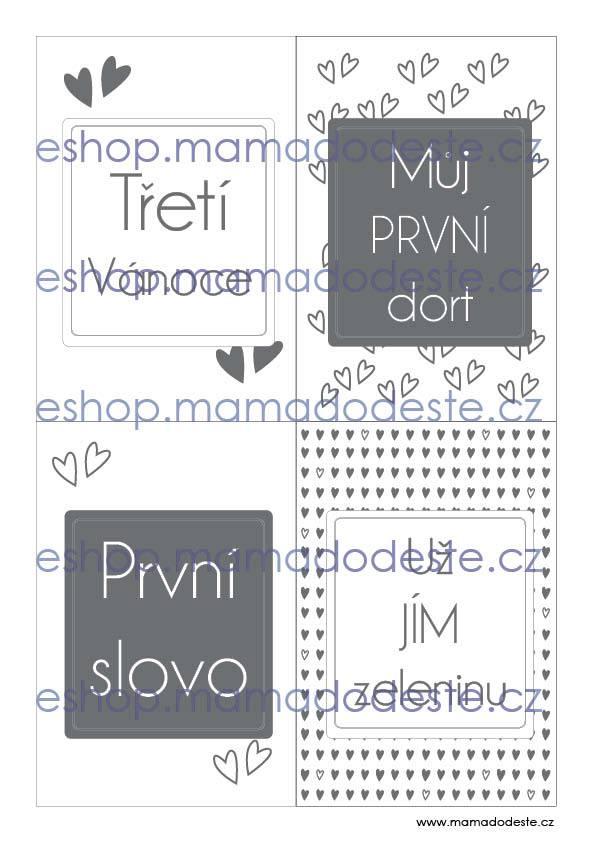 Milníkové karty PRO MIMINKA srdce šedé
