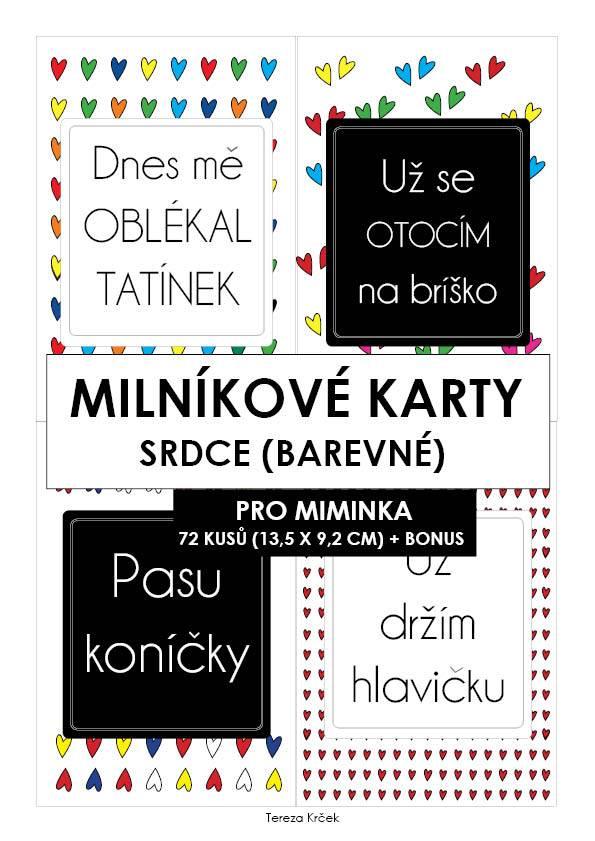 Milníkové karty PRO MIMINKA srdce barevné