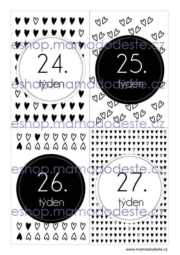 Milníkové kartičky těhotenské srdce černobílé
