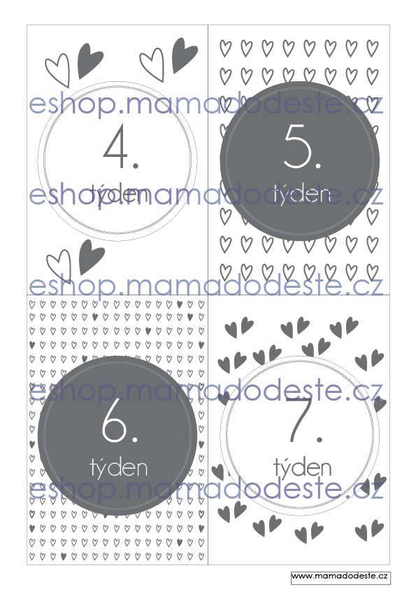 Milníkové kartičky těhotenské srdce šedé