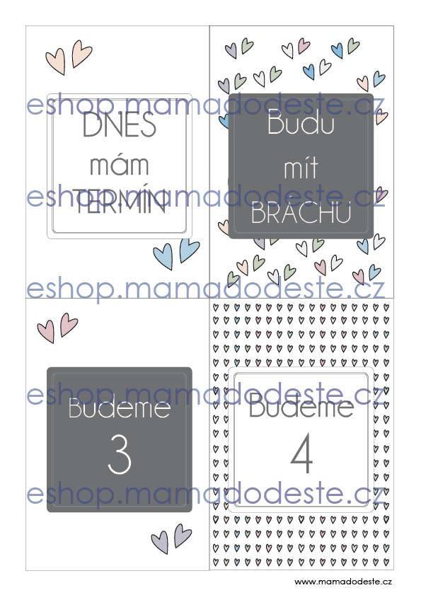 Milníkové kartičky těhotenské srdce pastelové