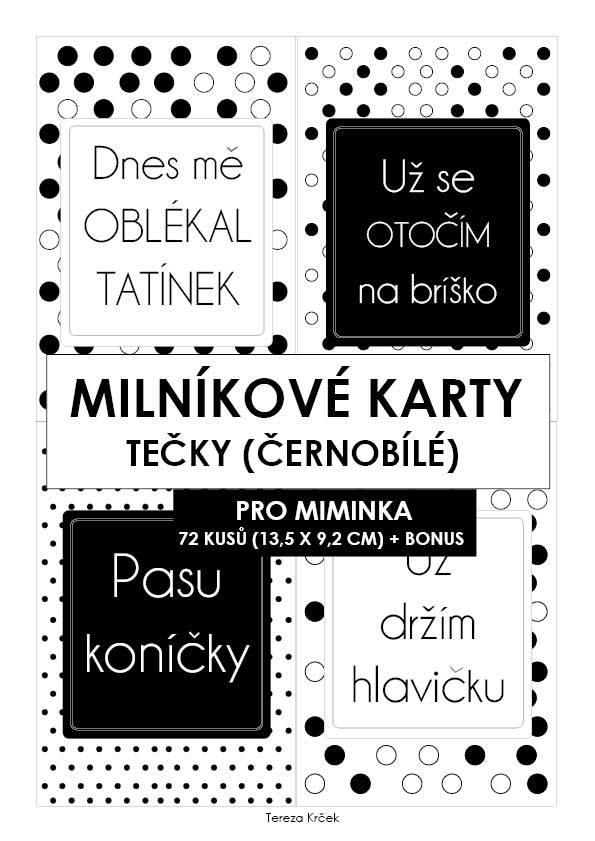 Milníkové karty PRO MIMINKA tečky černobílé