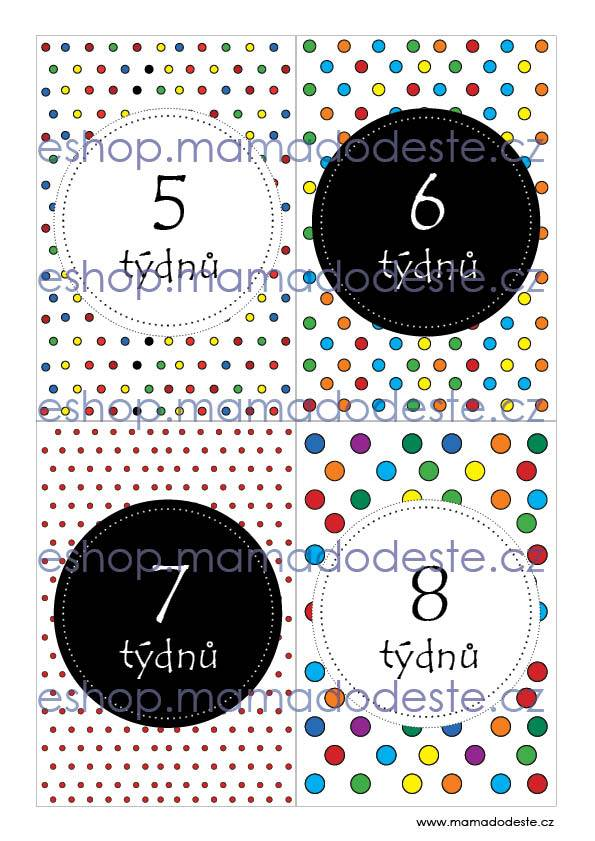 Milníkové karty PRO MIMINKA tečky barevné