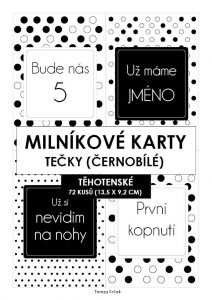 Milníkové karty TĚHOTENSKÉ tečky černobílé