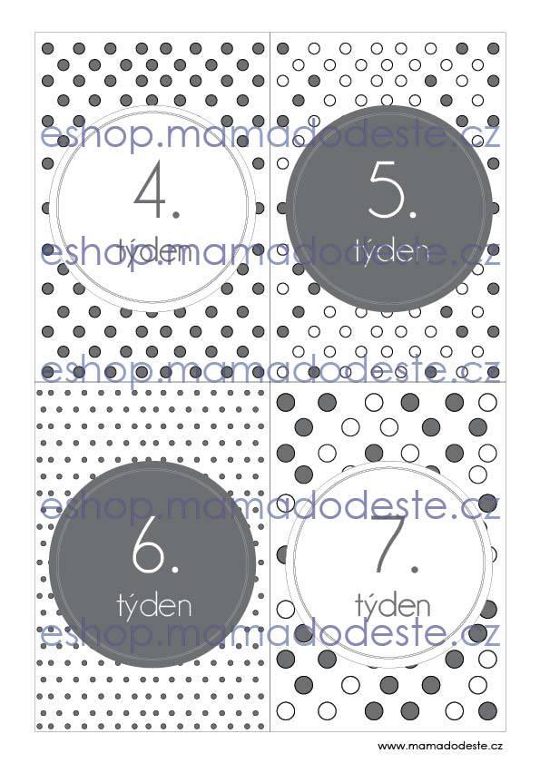 Milníkové karty TĚHOTENSKÉ tečky šedé