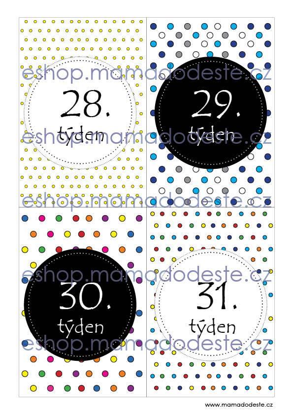 Milníkové karty TĚHOTENSKÉ Tečky barevné