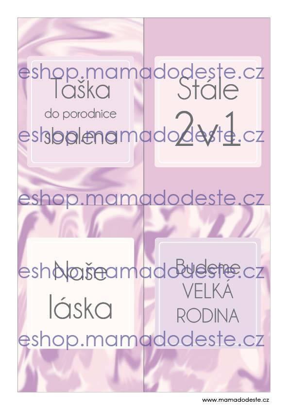 Milníkové kartičky těhotenské malířské plátno pastelové růžové