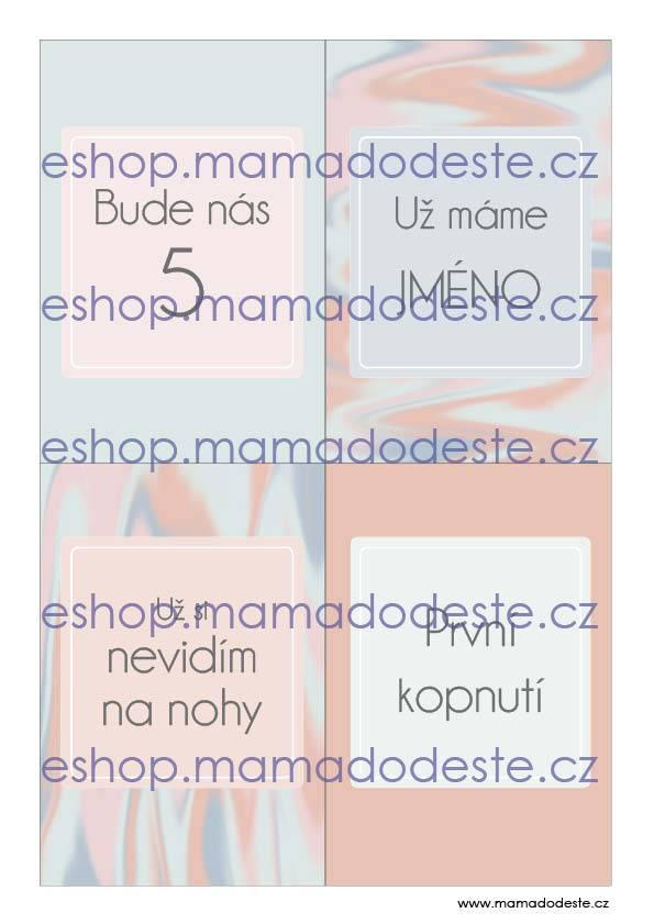 Milníkové kartičky těhotenské malířské plátno pastelové barvy jara
