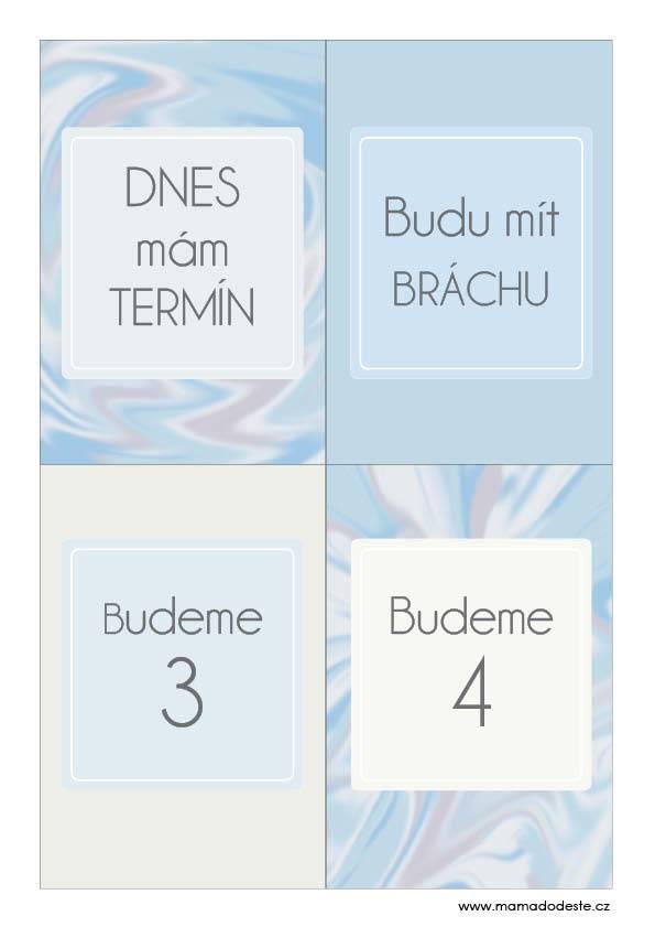 Milníkové kartičky těhotenské malířské plátno pastelové modré