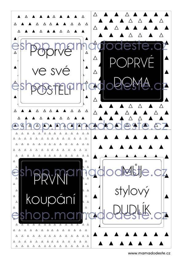 Milníkové karty PRO MIMINKA trojúhelníky černobílé