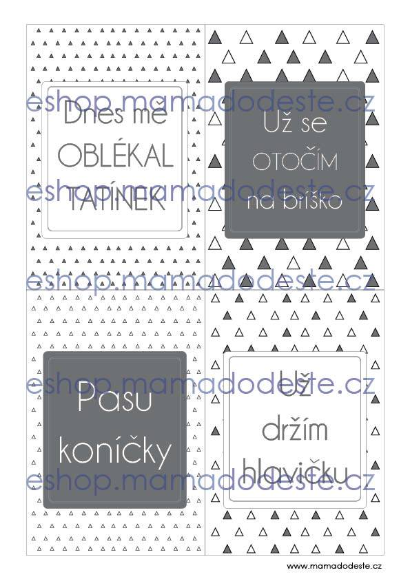 Milníkové karty PRO MIMINKA trojúhelníky šedé