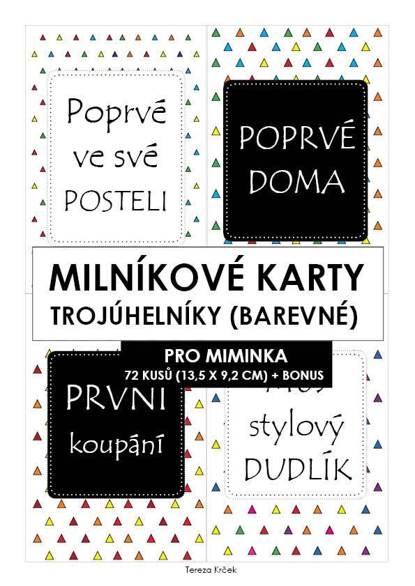 Milníkové karty PRO MIMINKA trojúhelníky barevné