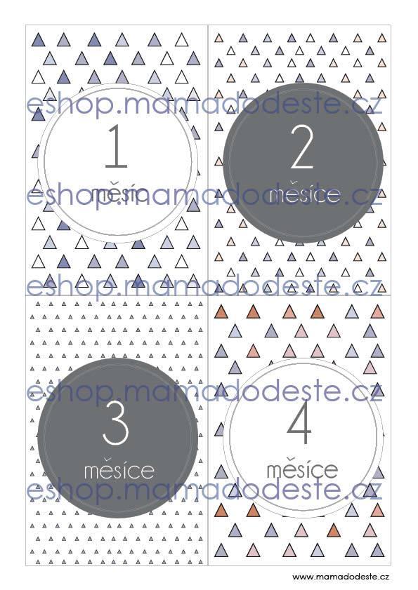 Milníkové karty PRO MIMINKA trojúhelníky pastelové