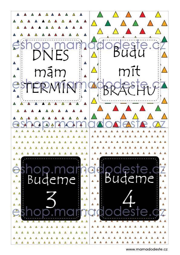Milníkové karty TĚHOTENSKÉ Trojúhelníky barevné