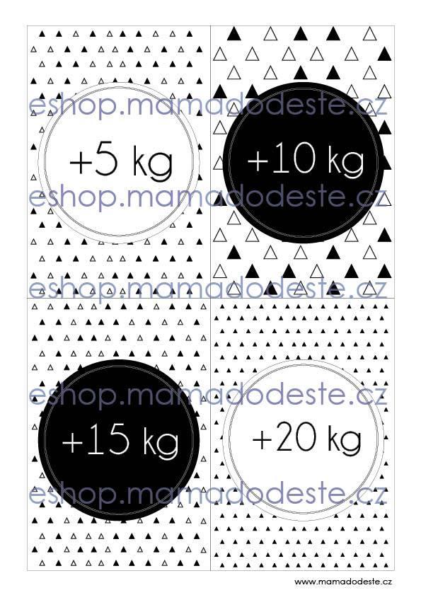 Milníkové karty TĚHOTENSKÉ trojúhelníky černobílé