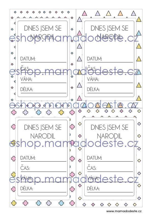 Milníkové karty PRO MIMINKA Tvary pastelové