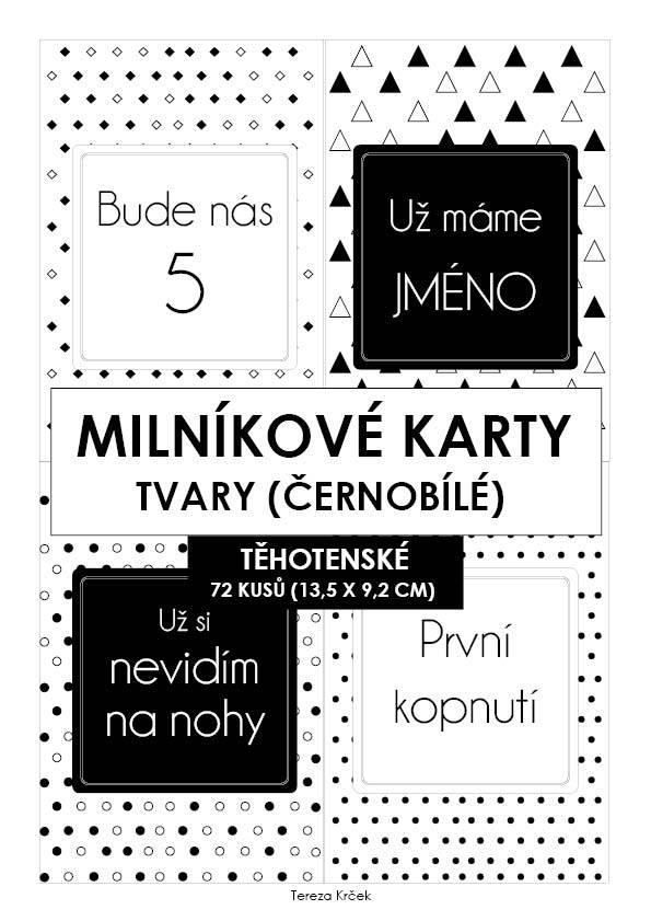 Milníkové kartičky těhotenské tvary černobílé