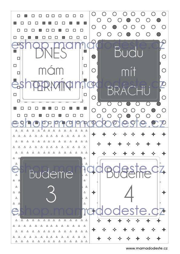 Milníkové kartičky těhotenské tvary šedé