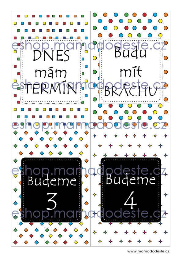 Milníkové kartičky těhotenské tvary barevné