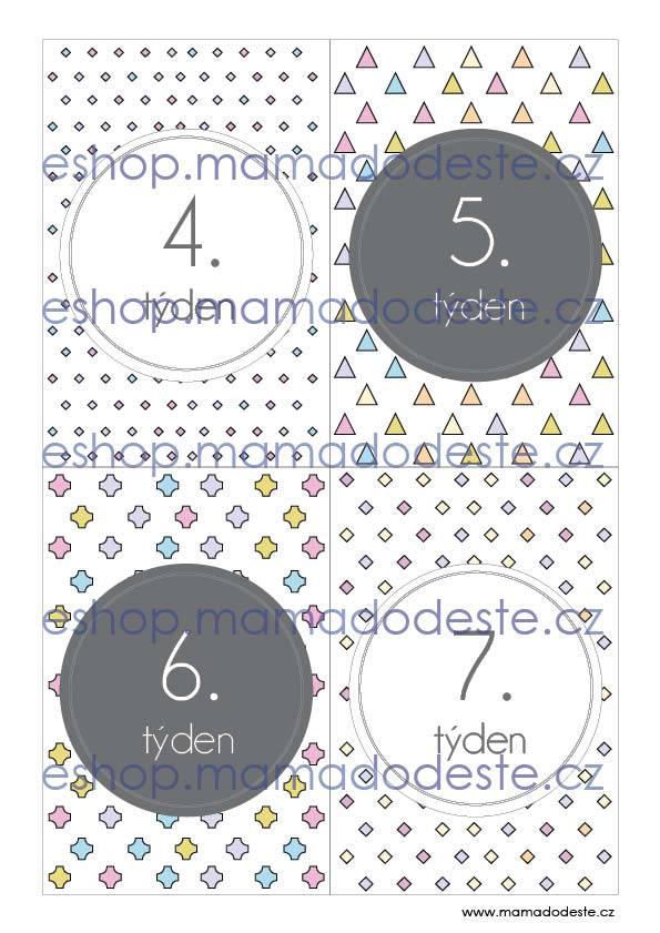 Milníkové kartičky těhotenské tvary pastelové