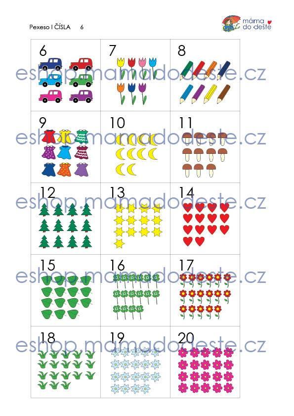 Pexeso Čísla (60 karet) PDF