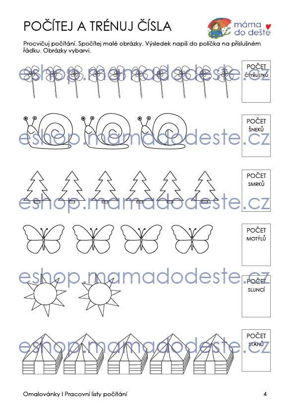 Obrázkové počítání od 1 do 10 (pracovní listy) 15 stran