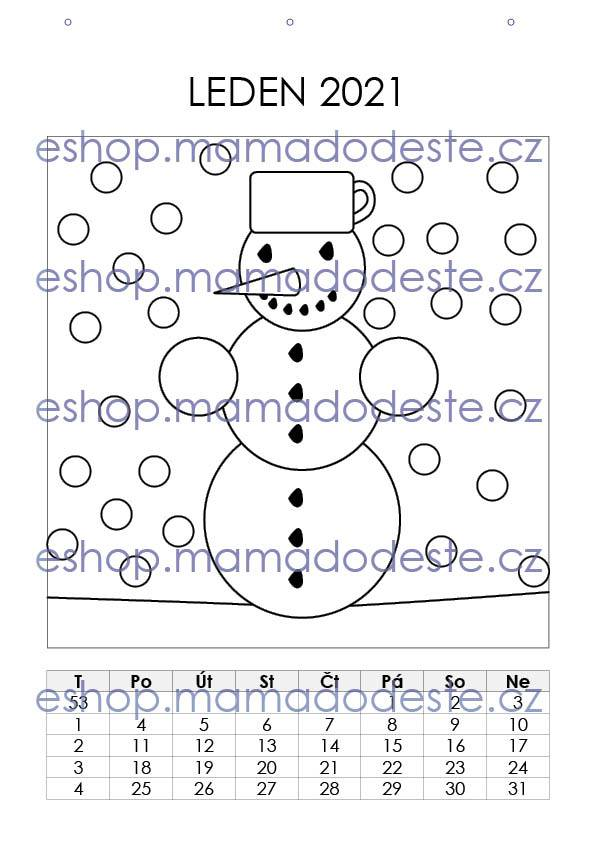 KALENDÁŘ 2021 (A4) Šikovné prstíčky + Omalovánky zdarma, PDF