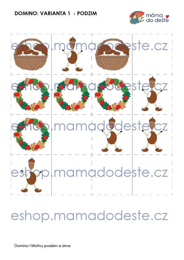 Domino podzimní, zimní a vánoční motivy (3 varianty hry) v PDF