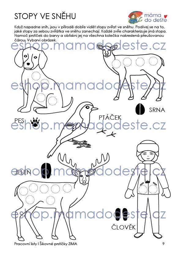 Pracovní listy Šikovné prstíčky ZIMA + Omalovánky zdarma, PDF