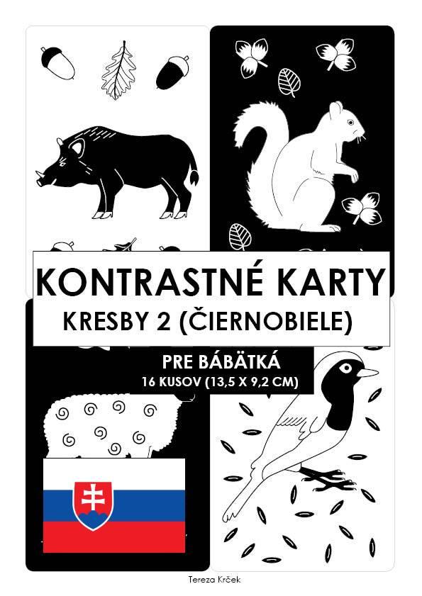 Kontrastné čiernobiele kartičky pre bábätká KRESBY II. PDF (A6) SLOVENSKY