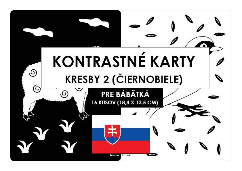 Kontrastné čiernobiele kartičky pre bábätká KRESBY II. PDF (A5) SLOVENSKY
