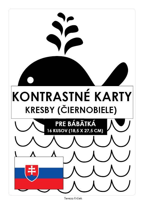 Kontrastné čiernobiele kartičky pre bábätká KRESBY PDF (A4) SLOVENSKY