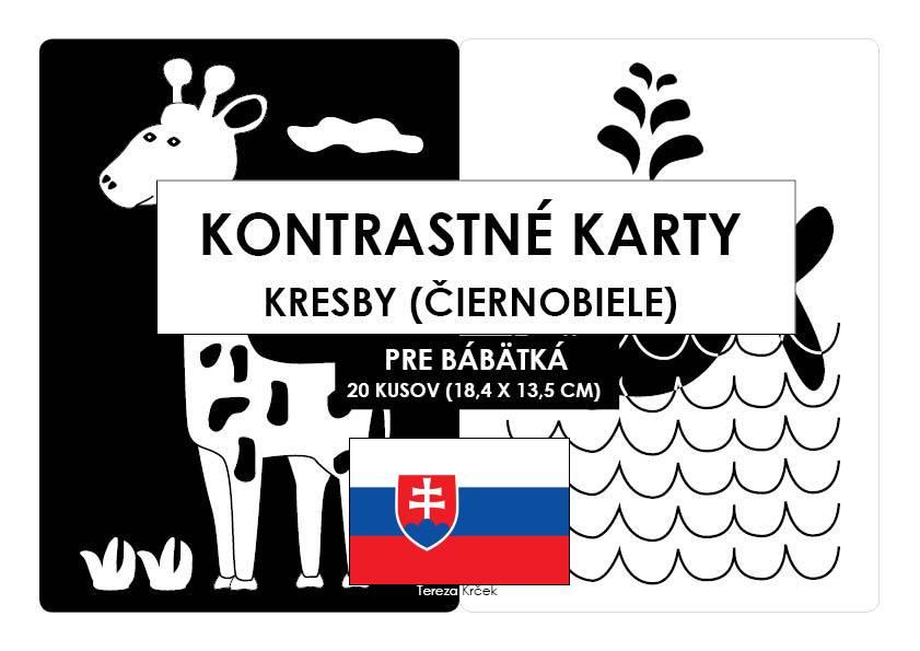 Kontrastné čiernobiele kartičky pre bábätká KRESBY PDF (A5) SLOVENSKY