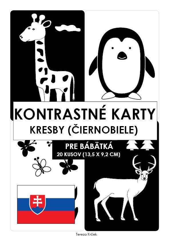 Kontrastné čiernobiele kartičky pre bábätká KRESBY PDF (A6) SLOVENSKY