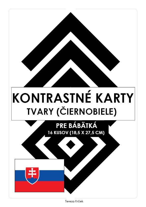 Kontrastné čiernobiele kartičky pre bábätká TVARY PDF (A4) SLOVENSKY